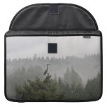 Heron in a Misty Mountain Landscape Sleeves For MacBook Pro