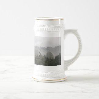 Heron in a Misty Mountain Landscape Mug