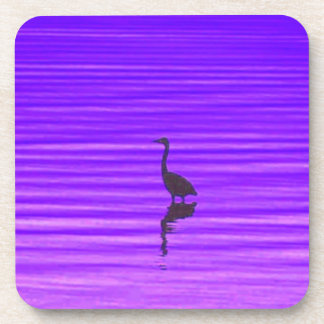 Heron in a Purple Lake Beverage Coaster