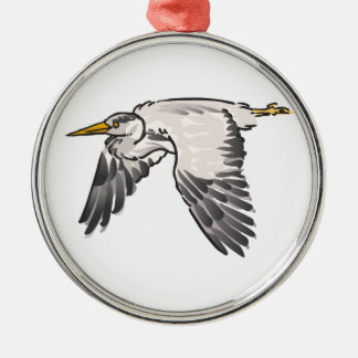 Heron In Flight Metal Ornament