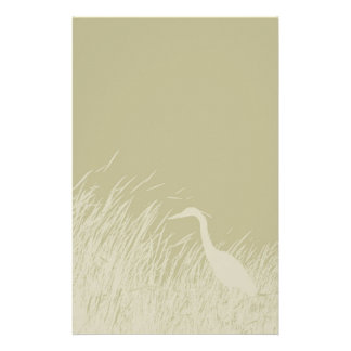 Heron in marsh grass silhouette stationery