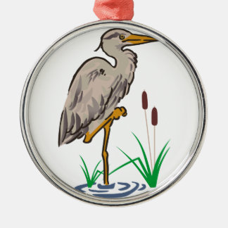 Heron In Marsh Metal Ornament