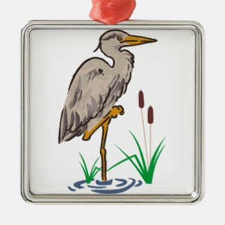 Heron In Marsh Metal Ornament