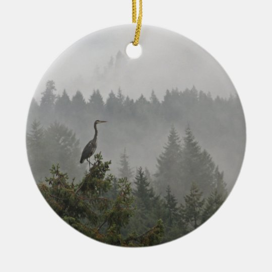 Heron in the Mist Ceramic Ornament