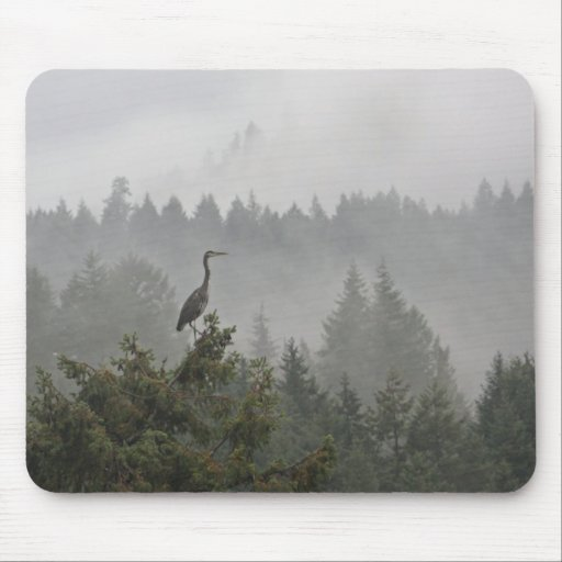 Heron in the Mist Mouse Pad