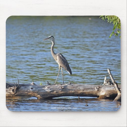 Heron, Log & River Photography Mousemat Mouse Pad