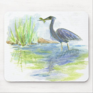 Heron Lunch - watercolor pencil Mouse Pad
