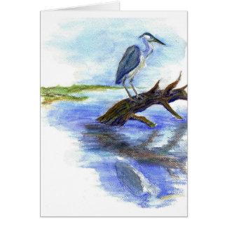 Heron Meditating - Watercolor Pencil Card