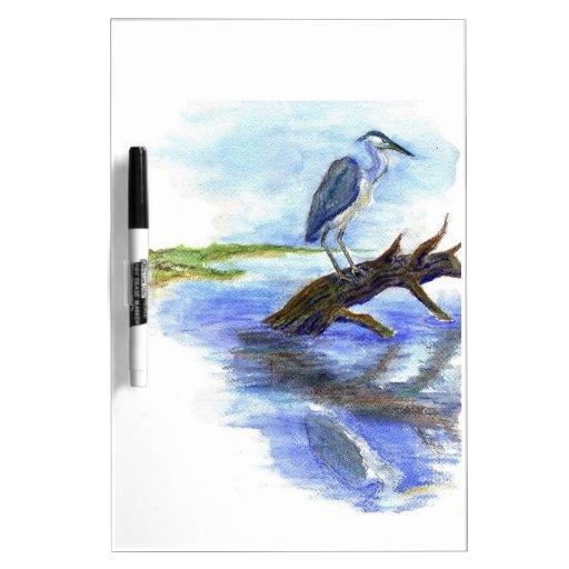 Heron Meditating - Watercolor Pencil Dry-Erase Whiteboard