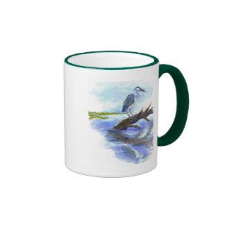 Heron Meditating - Watercolor Pencil Ringer Mug