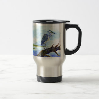 Heron Meditating - Watercolor Pencil Travel Mug