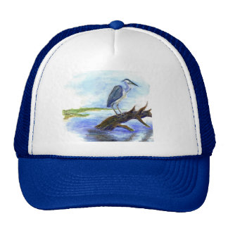 Heron Meditating - Watercolor Pencil Trucker Hat