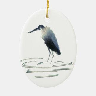 Heron Meditation, Sumi-e Great Blue Heron Ceramic Ornament