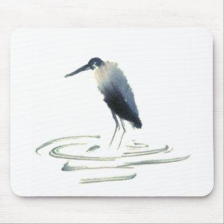 Heron Meditation Sumi-e Great Blue Heron Mouse Pad