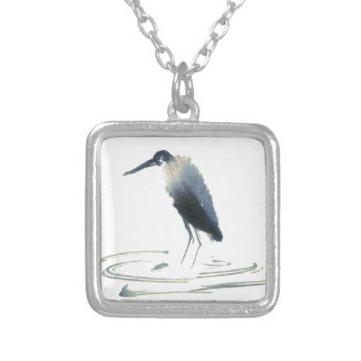 Heron Meditation, Sumi-e Great Blue Heron Pendant
