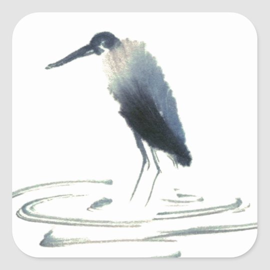 Heron Meditation, Sumi-e Great Blue Heron Square Sticker