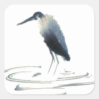 Heron Meditation, Sumi-e Great Blue Heron Square Sticker