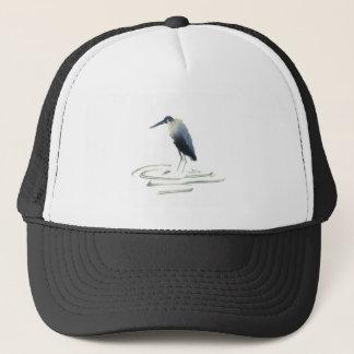 Heron Meditation, Sumi-e Great Blue Heron Trucker Hat