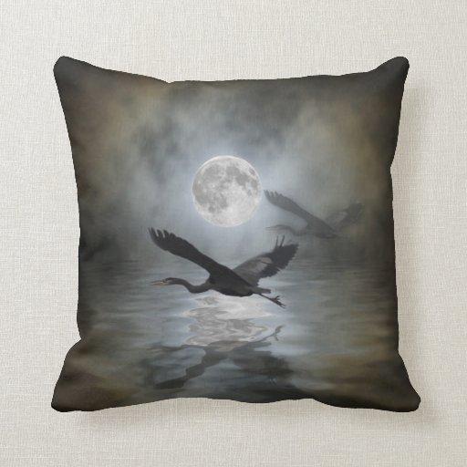 Heron Moon Fantasy Wildlife Animal Heron-lover Pillow