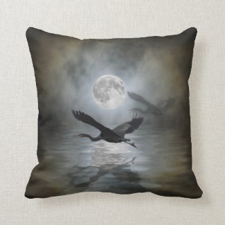 Heron Moon Fantasy Wildlife Animal Heron-lover Throw Pillow