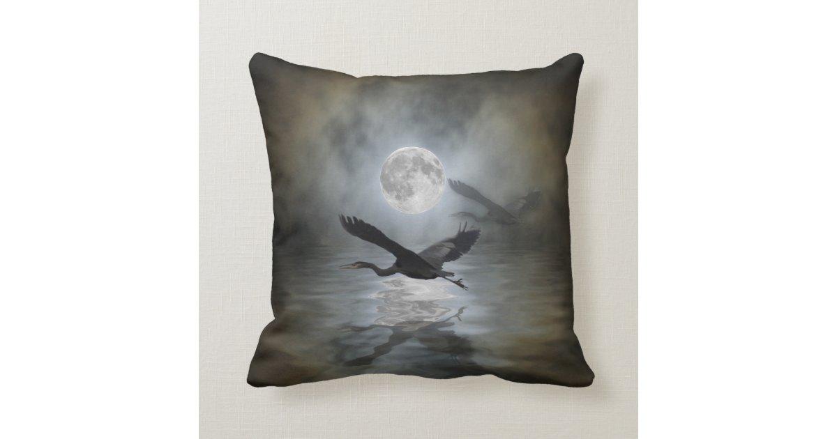 Heron Moon Fantasy Wildlife Animal Heron-lover Throw Pillow Zazzle