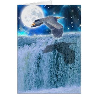 Heron, Moon & Waterfall Fantasy Art Card