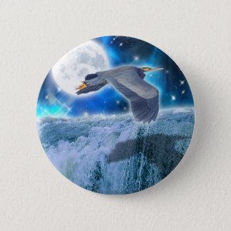 Heron, Moon & Waterfall Fantasy Art Gift Button