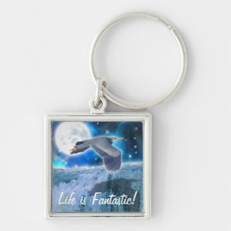 Heron, Moon & Waterfall Fantasy Art Keychain