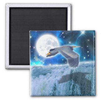 Heron, Moon & Waterfall Fantasy Art Magnet