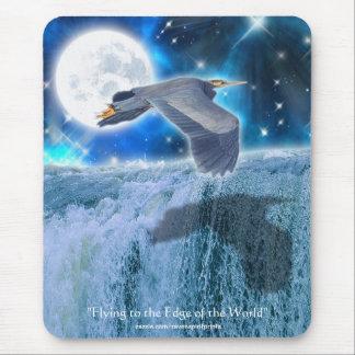 Heron, Moon & Waterfall Fantasy Art Mousemat Mouse Pad