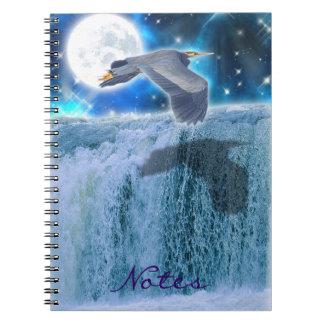 Heron, Moon & Waterfall Fantasy Art Notebook