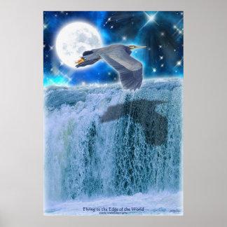 Heron, Moon & Waterfall Fantasy Art Poster