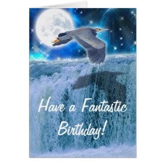 Heron, Moon & Waterfall Fantasy Birthday Card