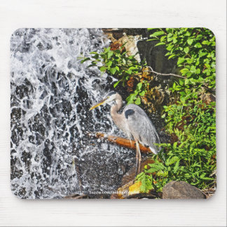 Heron, Moon & Waterfall Photography Mousemat Mouse Pad