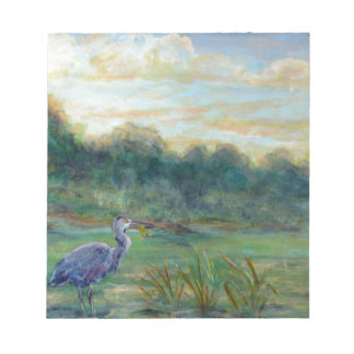 Heron Morning, acrylic Scratch Pad