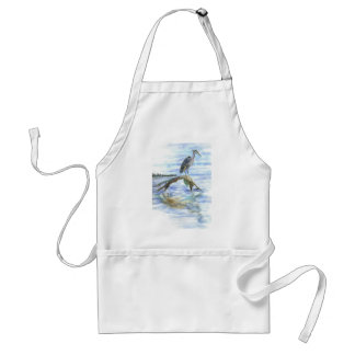 Heron on a Log - watercolor pencil Adult Apron