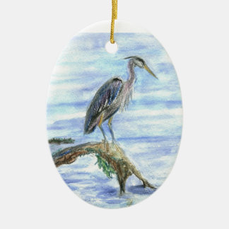 Heron on a Log - watercolor pencil Ceramic Ornament
