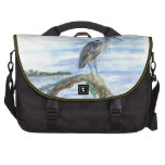 Heron on a Log - watercolor pencil Commuter Bags