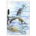 Heron on a Log - watercolor pencil Dry-Erase Boards