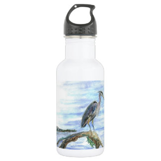 Heron on a Log - watercolor pencil Stainless Steel Water Bottle
