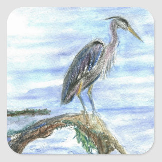 Heron on a Log - watercolor pencil Square Sticker
