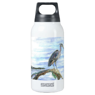 Heron on a Log - watercolor pencil Thermos Water Bottle