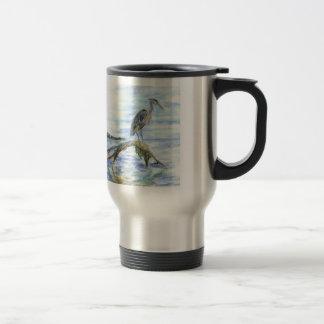 Heron on a Log - watercolor pencil Travel Mug