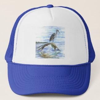 Heron on a Log - watercolor pencil Trucker Hat