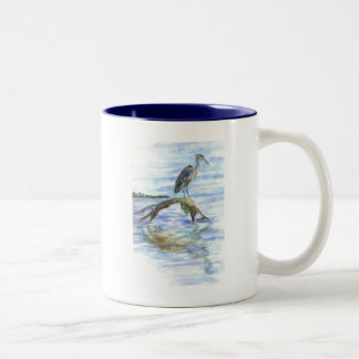 Heron on a Log - watercolor pencil Two-Tone Coffee Mug
