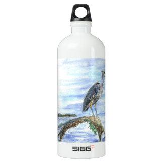 Heron on a Log - watercolor pencil Water Bottle