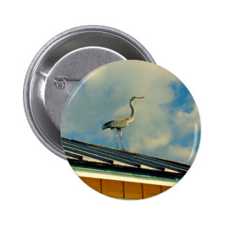 Heron on a Roof Pinback Buttons
