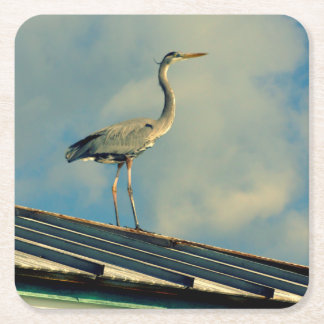 Heron on a Roof Square Paper Coaster