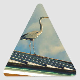 Heron on a Roof Triangle Sticker