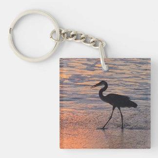 Heron on early morning walk keychain